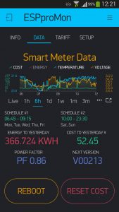 ESPproMon smartphone energy monitor and control app data page